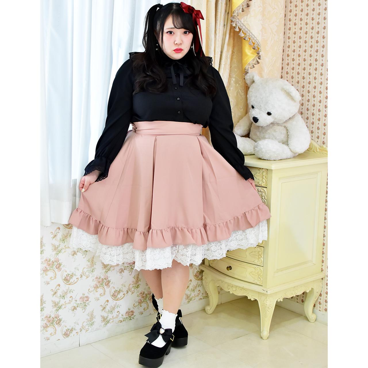 フリルレースサスペンダースカートの写真
