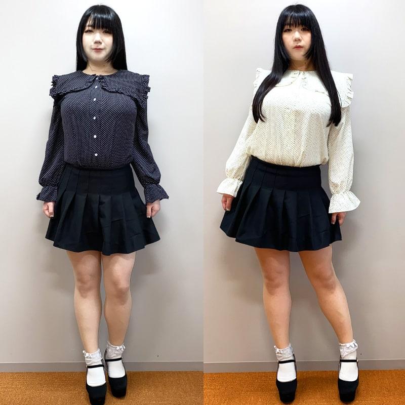 大きいサイズのブランドタベルノスキーの大きいサイズブランドタベルノスキーのブラウスセーラー衿ドット柄フリルブラウス(LL~5L)ブラックと白のぽっちゃり女子の着用全身画像