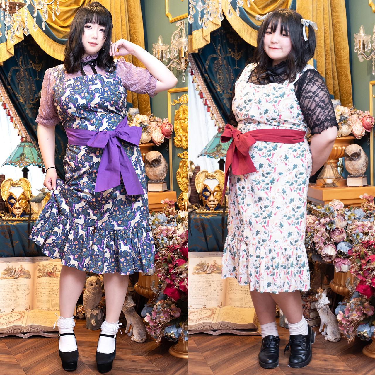 【大きいサイズ】ユニコーン柄前ジッパーワンピース(LL~5L)タベルノスキー量産型ぽっちゃりさんのお洋服