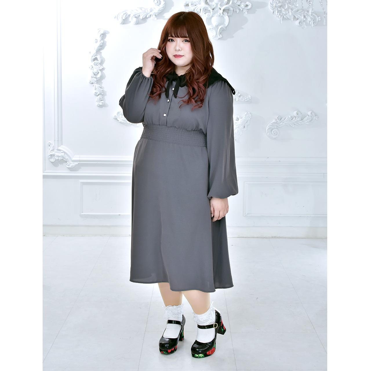 セーラーレース衿ワンピース(LL-3L/4L-5L)タベルノスキー量産型大きいサイズ2021春新作